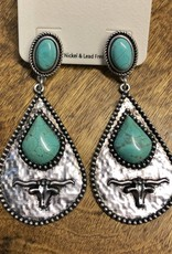 EARRING NATURAL STONE LONGHORN STEER POST