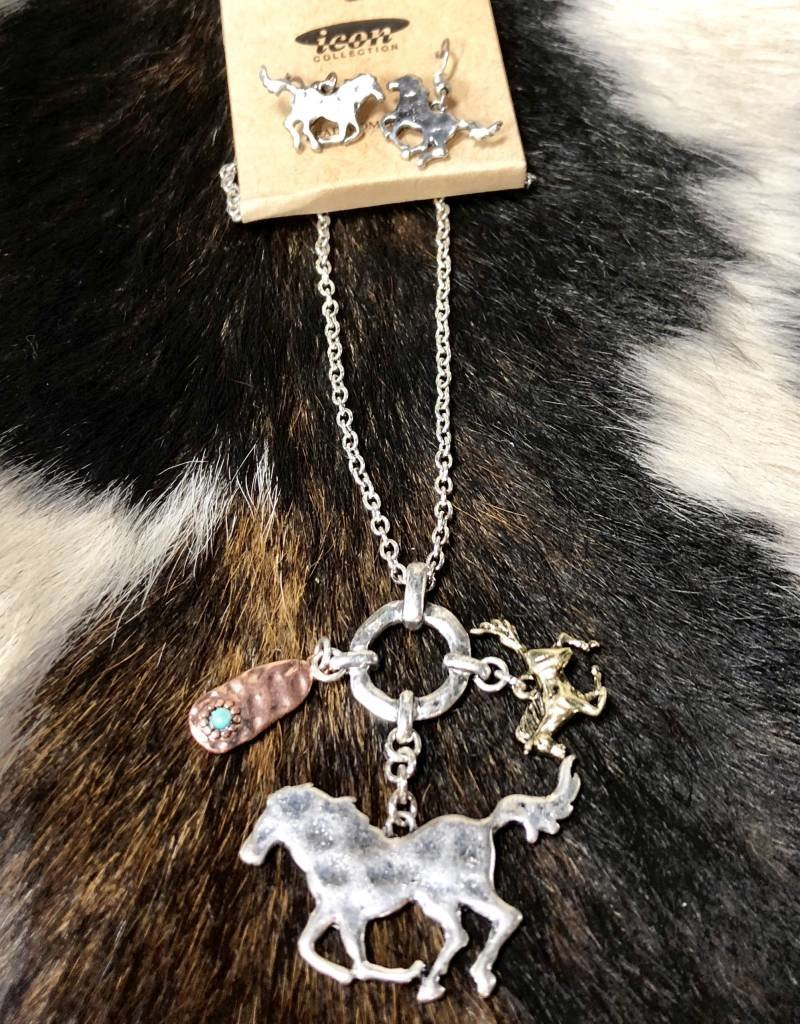 NECKLACE HORSE CHARM MULTI METAL SET 18""