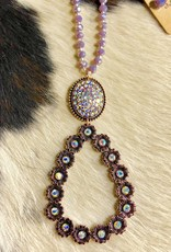 NECKLACE COPPER FLOWER OVAL LAVENDAR GLASS BEAD CRYSTAL