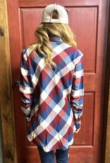 WMNS PLAID L/S MAROON BLUE SHIRT