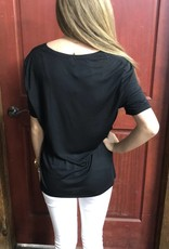 T-SHIRT BE THE PERSON YOUR DOG POCKET BLACK POLY/VISCOSE
