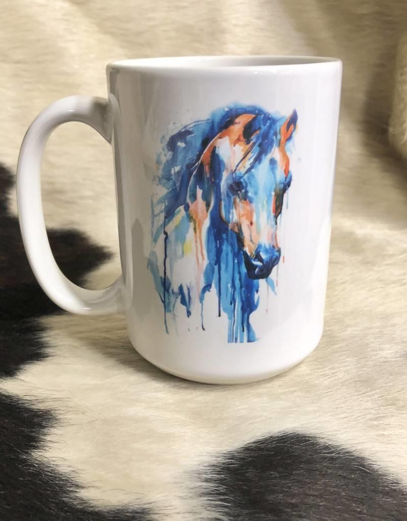 COFFEE MUG PAINTED HORSE image on both sides