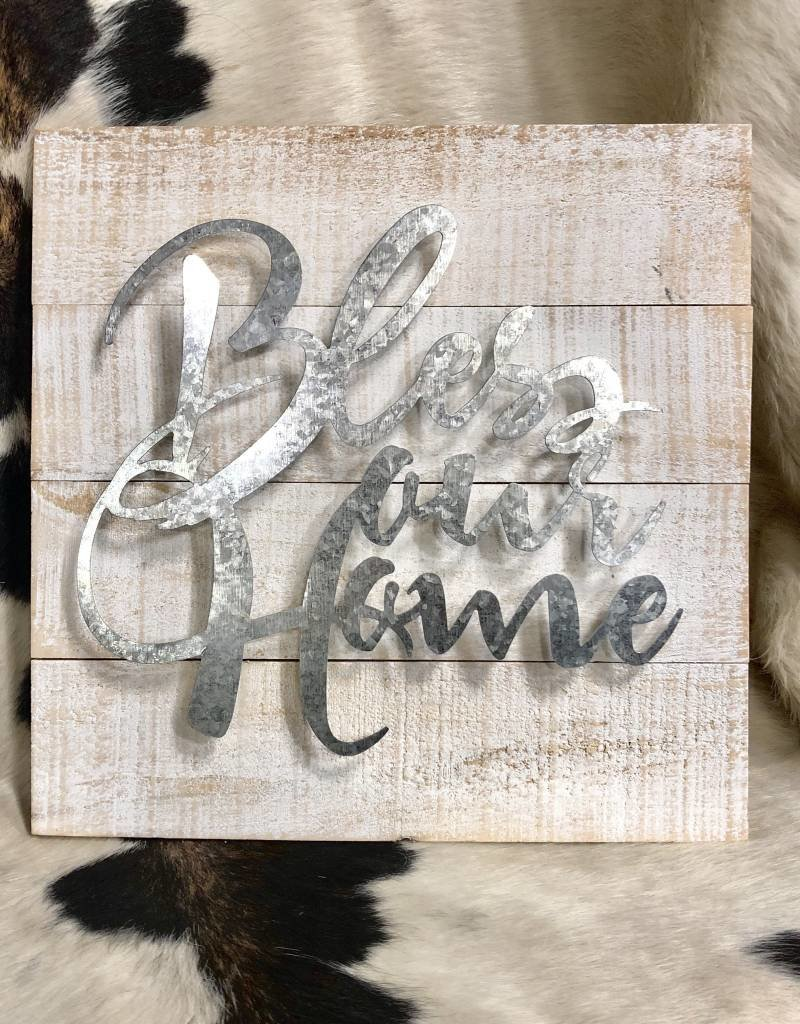 "BLESS OUR HOME WALL ART SIGN  14""x 13 1/2"" wood and galv metal"