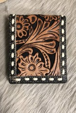 """3D WALLET TOOLED SUEDE INLAY BUCK STITCH LEATHER SUEDE INLAY BUCK STITCH 4"""" X 4 1/2"""""""