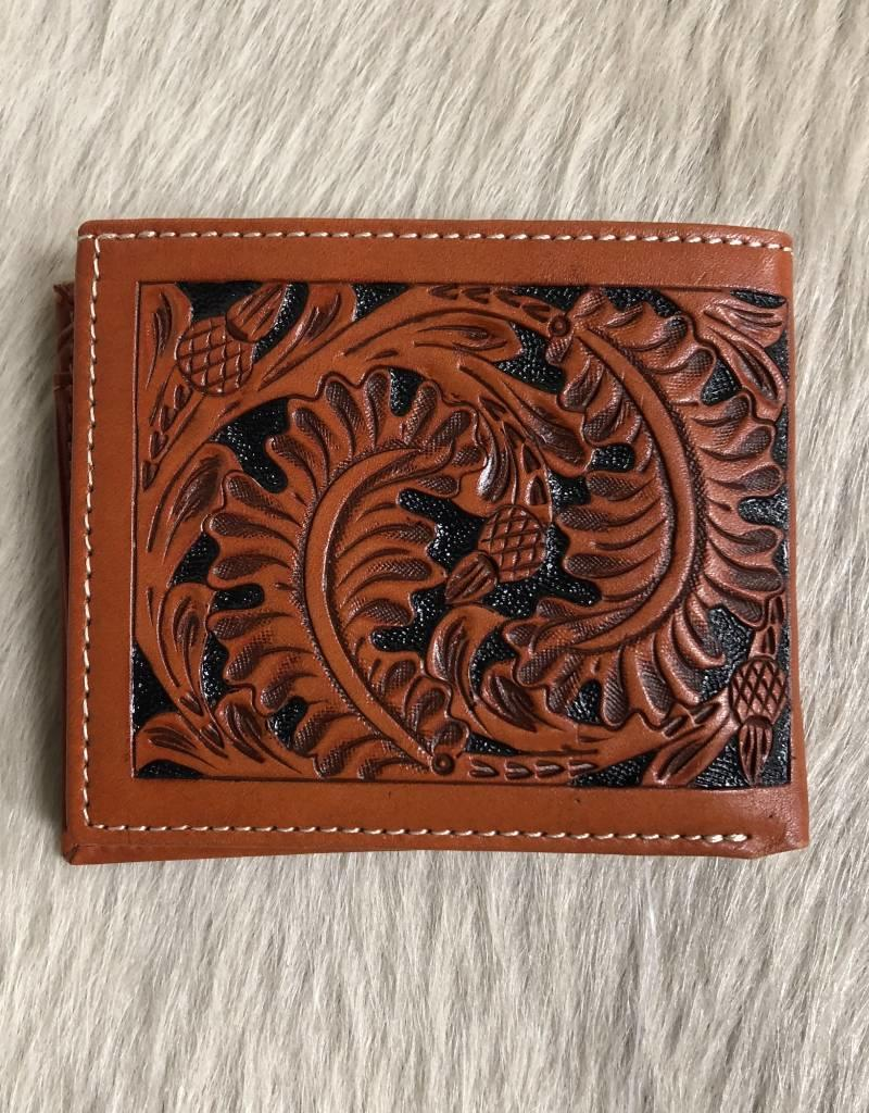 3D WALLET TOOLED CROSS INLAY HAIR ON
