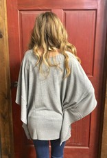 WNS PONCHO HEATHER GRAY SWEATER KNIT TURQ PRINT