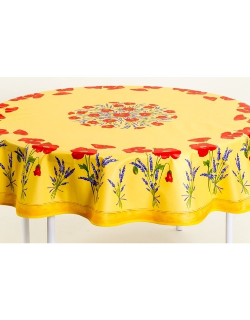 Acrylic-coated Poppies Yellow 70 in Round