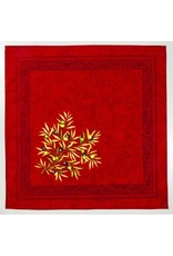 Napkin, Olives, Red <br /> 100% Cotton Print<br /> Made in France