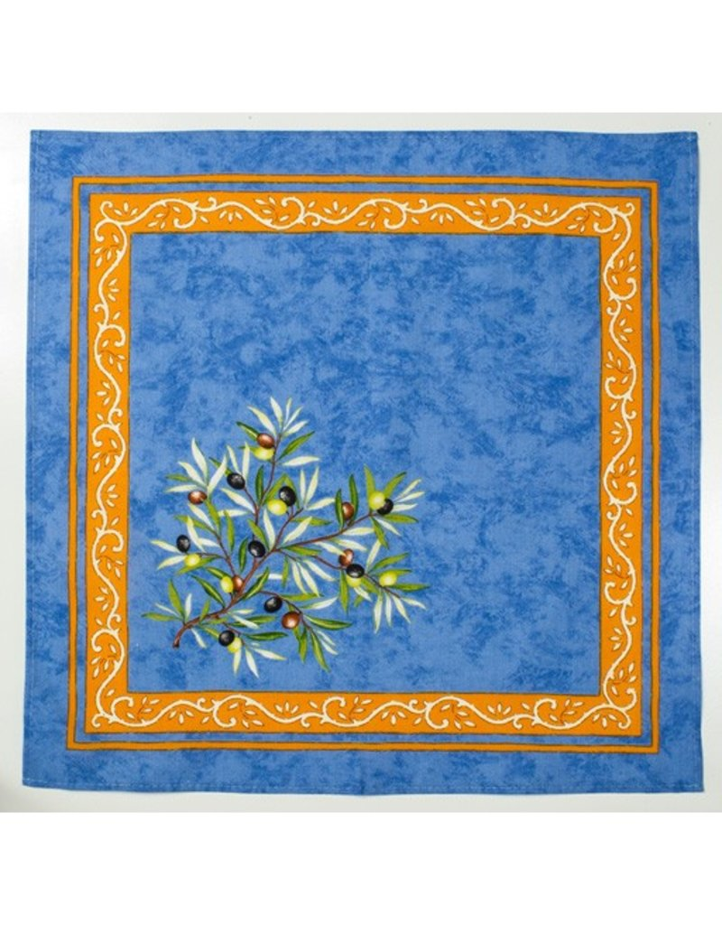 Napkin, Olives, Blue <br /> 100% Cotton Print<br /> Made in France