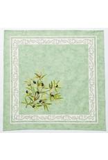 Napkin, Olives, Green <br /> 100% Cotton Print<br /> Made in France