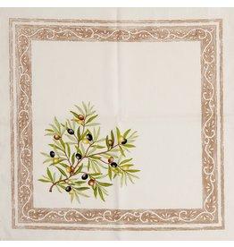 Napkin, Olives, Ivory <br /> 100% Cotton Print<br /> Made in France
