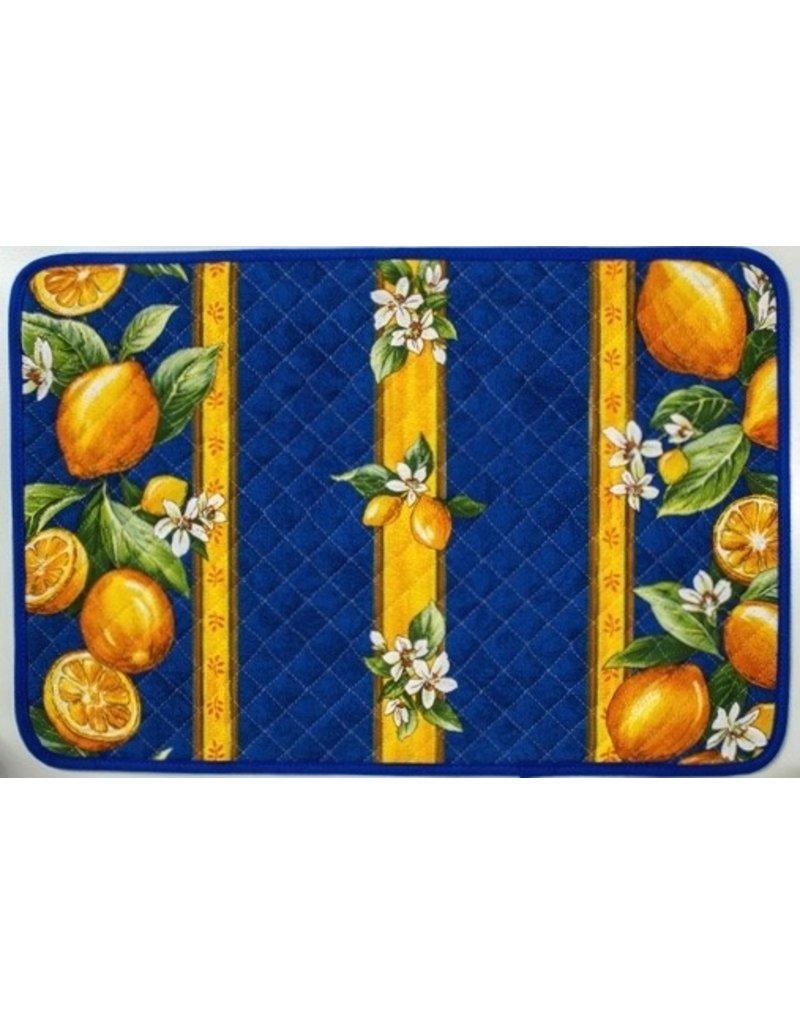 Placemat Acrylic-Coated Lemons Blue