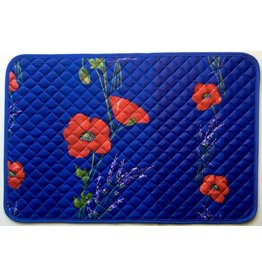 Placemat Acrylic-Coated Poppies Blue
