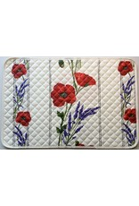 Placemat Acrylic-Coated Poppies Ivory