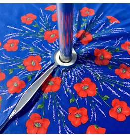 Acrylic-coated Poppies Blue 70 in Round w/ Zipper