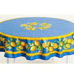 Cotton Lemons Blue 70 inch Round