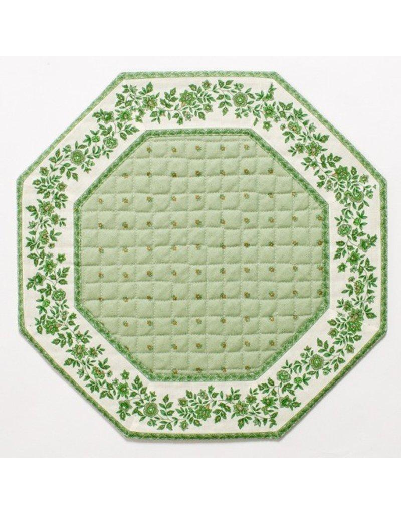 Green w/ White Border Calison Fleur Octagonal Placemat