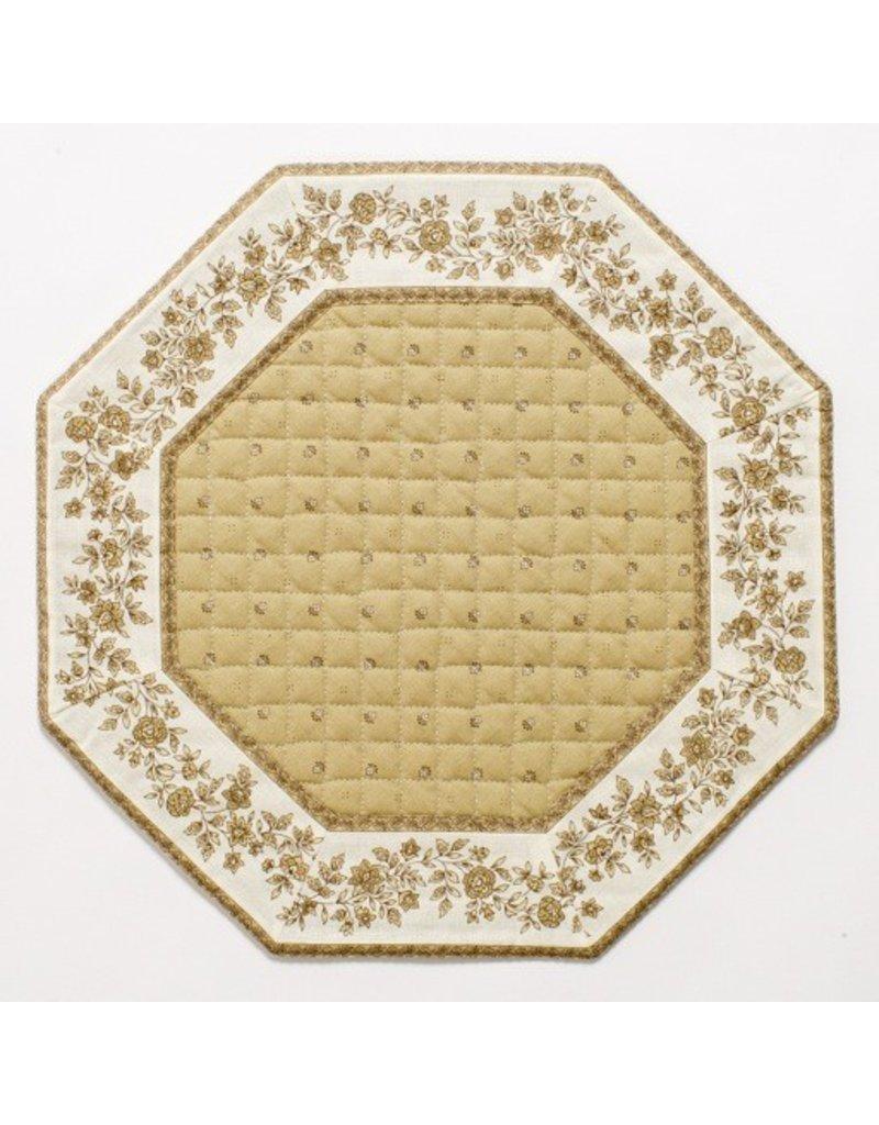 Taupe w/ White Border Calison Fleur Octagonal Placemat