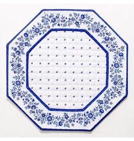White w/ Blue Calison Fleur Octagonal Placemat