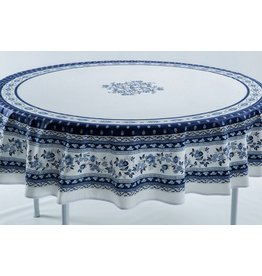 Cotton Avignon White w/ Blue 70 inch Round