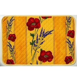 Placemat Acrylic-Coated Poppies Yellow