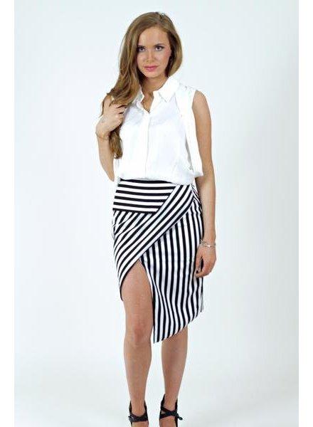 Asymmetric Stripe Skirt