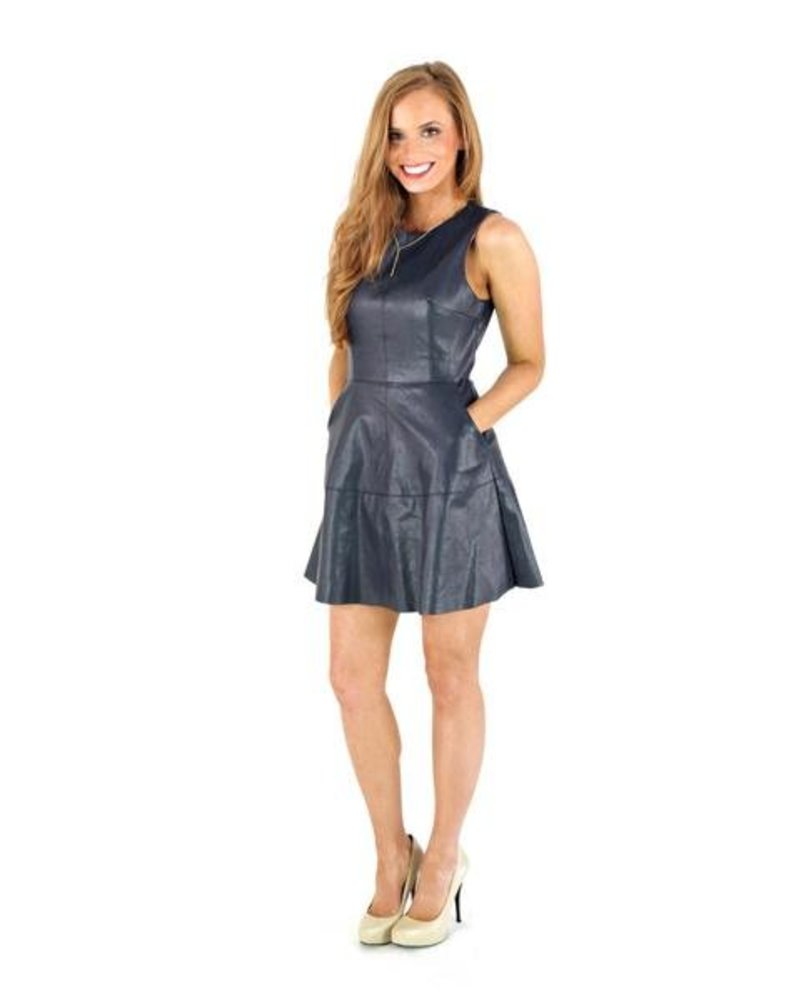 Leather Fit & Flare Dress