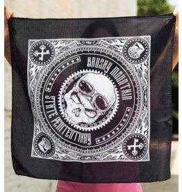 Black Skull Bandana Brushy - Motorcycle Skull Bandana