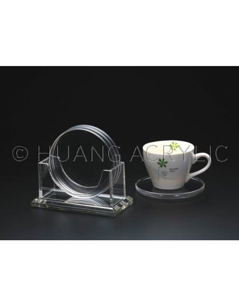 """4"""" Round Acrylic Coaster set w/ Holder"""