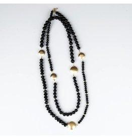 Ali & Bird Long Beaded Necklace - Black & Gold