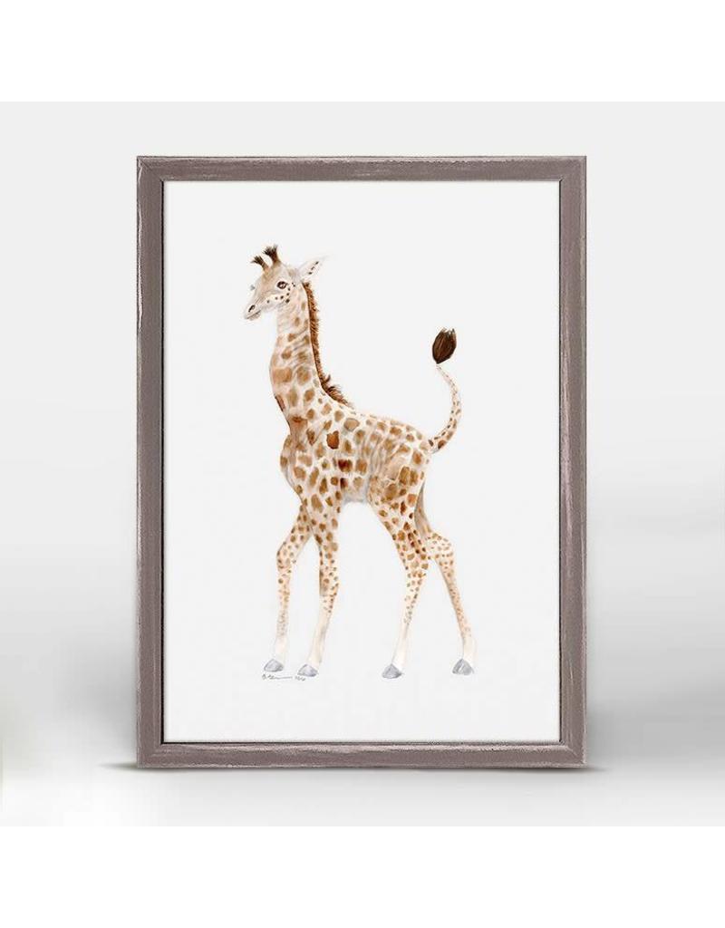 5x7 mini framed canvas standing baby giraffe oak willow