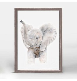 Greenbox Art 5x7 Mini Framed Canvas Baby Elephant Trumpet Portrait