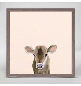 6x6 Mini Framed Canvas Baby Brown Cow