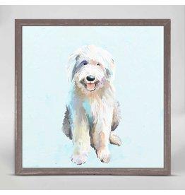 Greenbox Art 6x6 Mini Framed Canvas English Sheep Dog