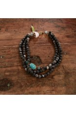 Ali & Bird Black Chunky Necklace with Druzy