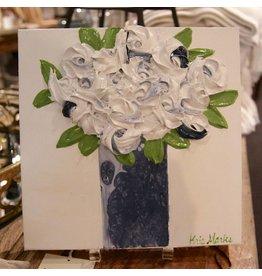 Kris Marks Kris Marks 10x10 + White Roses in Blue Vase