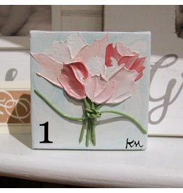 Kris Marks 4x4 Pink Flowers Paintings
