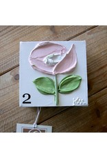 Kris Marks 4x4 Pink Flowers Paintings