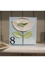 Kris Marks 4x4 Blue/White Flower Paintings