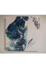 Scott Ellis Blue & Copper Acrylic Pour 20x20