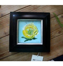 Scott Ellis 5 x 5 Yellow Rose on Blue