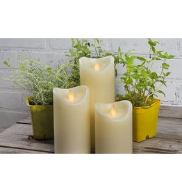 LuxuryLite 3.7x7 Wax LED Pillar Candle Ivory