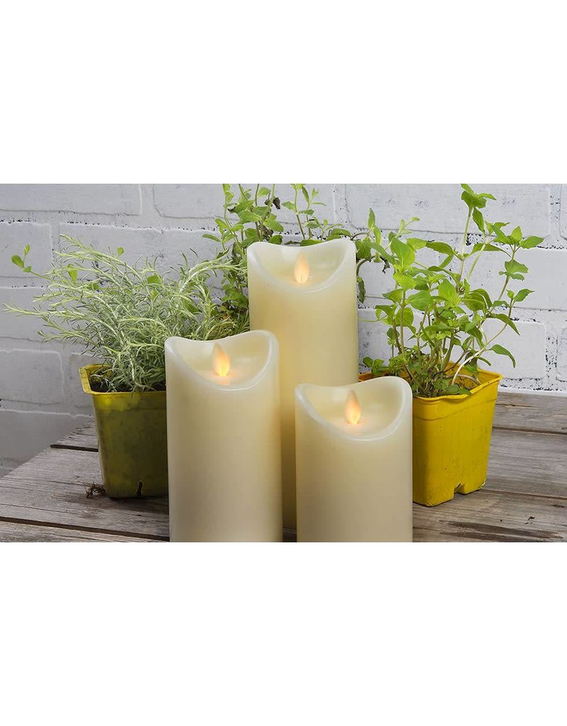 LuxuryLite 3.7x9 Wax LED Pillar Candle Ivory