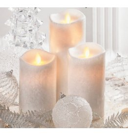 LuxuryLite 3x8 Wax LED Pillar Candle White