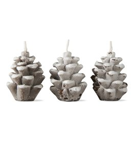 Tag Ltd Small Frosted Pinecone Candle Set/3