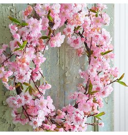 Pink cherry blossom wreath
