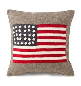Arcadia Home Hand-Felted American Flag Pillow 18x18