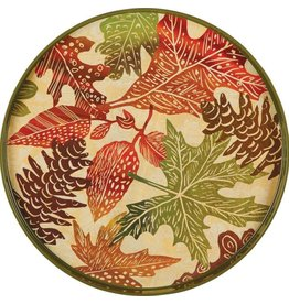"Woodblock Leaves 18"" Round Tray"