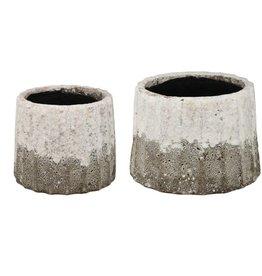 A&B Home Katja Cement & White Glaze Small