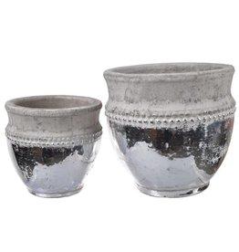 A&B Home Cement & Silver Pot Small